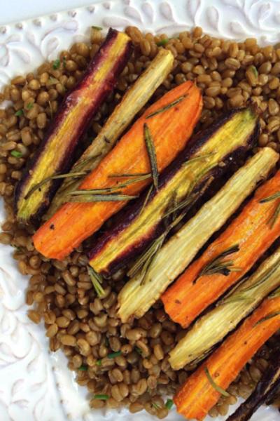 Lemon & Herb grain salad topped with Rosemary Honey Roasted Carrots