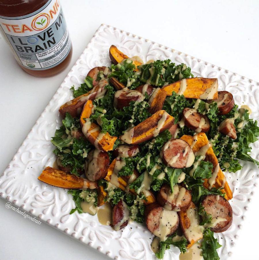 Tahini Kale Salad with Chicken Sausage and Sweet Potato ...