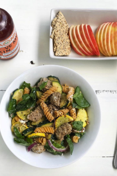 Beef and Veggie Pasta Salad With Goat Cheese