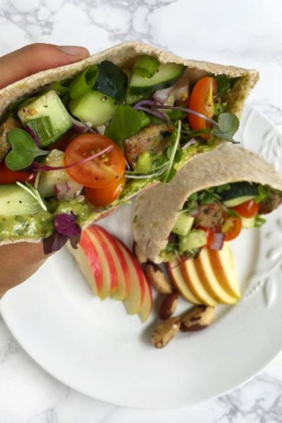 Greek Salad Filled Pita Pocket