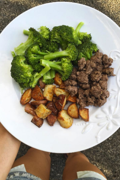 Lean Beef, Steamed Broccoli and Roasted Potatoes