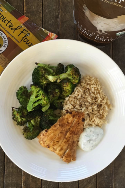 Chipotle Lime Haddock, Roasted Broccoli and Brown Rice