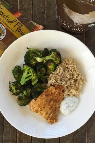 Chipotle Lime Haddock, Roasted Broccoli and Brown Rice