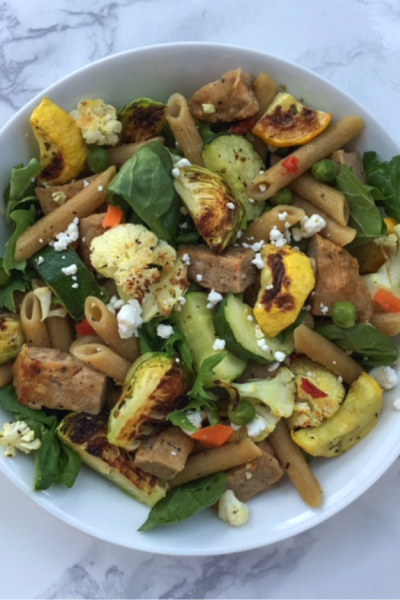 Roasted Lentil Pasta Salad With Veggies and Chicken Sausage