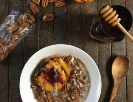 Grilled Peach And Coconut Oatmeal