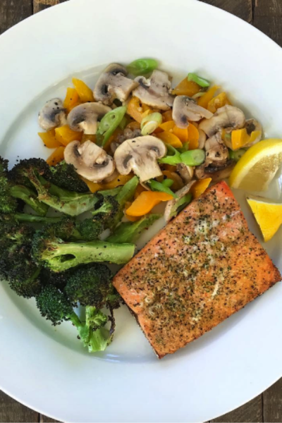 Grilled Salmon, Roasted Broccoli and Sautéed Mushrooms