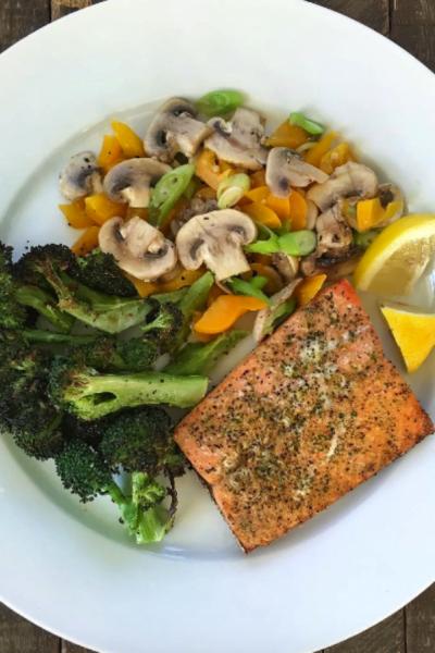 Grilled Salmon, Roasted Broccoli and Sautéed Mushrooms