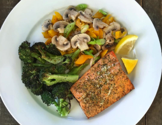 Grilled Salmon, Roasted Broccoli and Sauteed Mushrooms