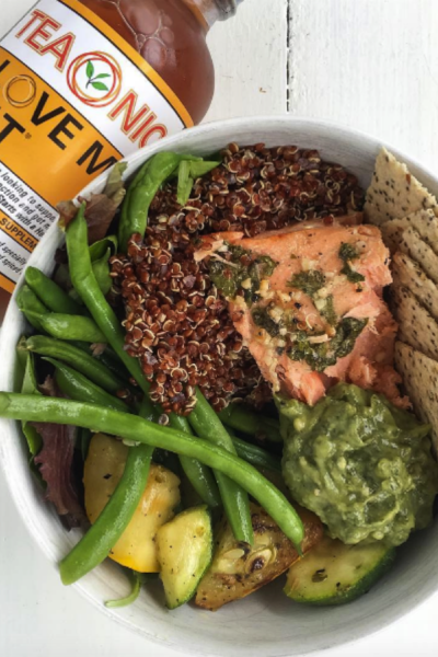 Cilantro Honey Garlic Grilled Salmon and Quinoa Veggie Bowl