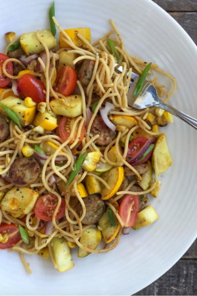 Vegetable and Chicken Sausage Chickpea Pasta