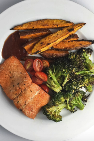 Honey Chipotle Grilled Salmon With Roasted Broccoli & Sweet Potato Fries