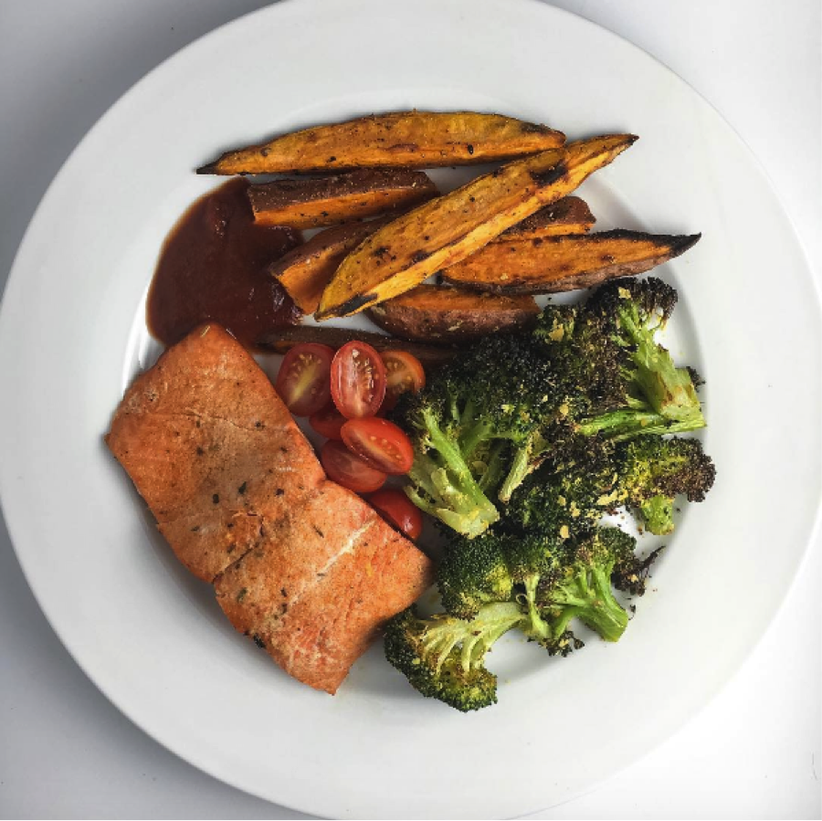 Honey Chipotle Salmon, Grilled Veggies Sweet Potato Fries