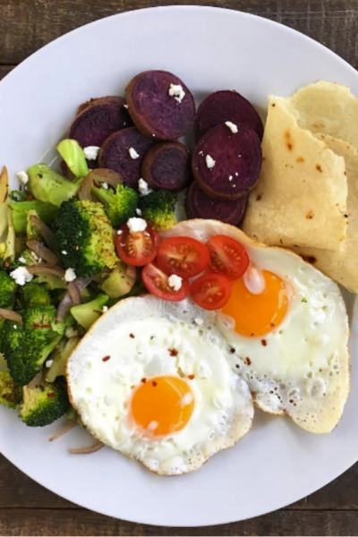 Savory Breakfast With Sweet Potato, Eggs, Veggies and A Tortilla