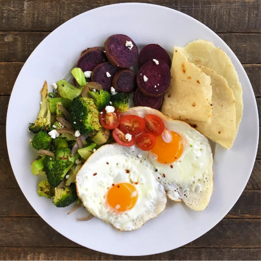 Savory Breakfast With Sweet Potato Veggies And Eggs
