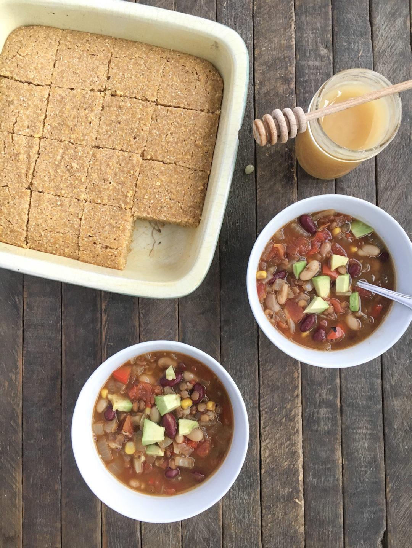 Lentil Chili and Vegan Cornbread