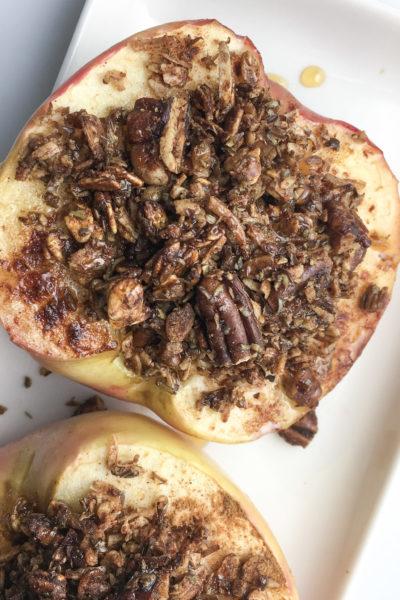 Cinnamon Flax Granola Baked Apples