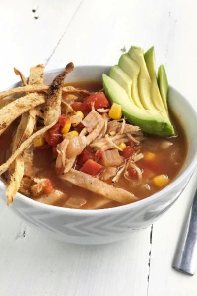 Easy Crockpot Shredded Chicken Tortilla Soup