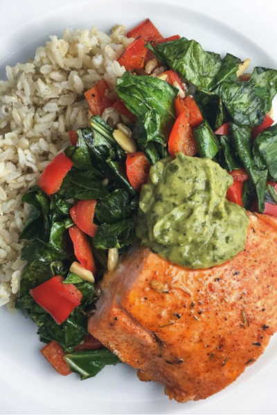 Honey Chipotle Salmon With Collard Greens and Brown Rice