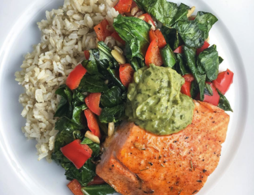 Honey Chipotle Salmon, Collard Greens and Sprouted Brown Rice