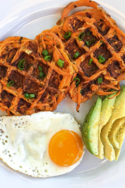 Savory Spiralized Sweet Potato Waffles
