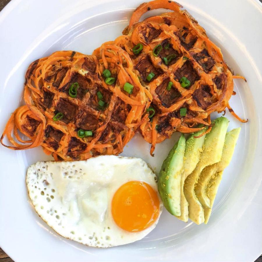 savory-spiralized-sweet-potato-waffles