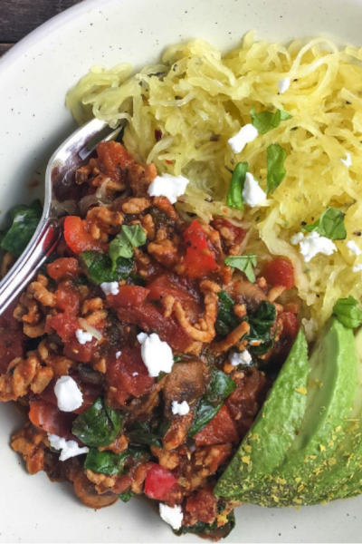 Spaghetti Squash With Chunky Turkey Marinara Sauce