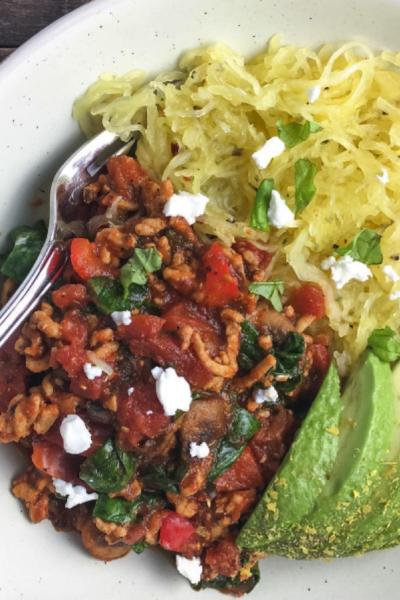 Spaghetti Squash With Chunky Turkey Marinara Sauce