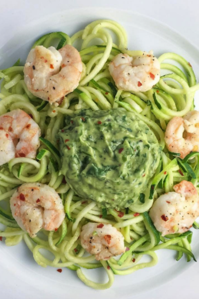 Spicy Shrimp Over Zoodles Smothered in Cilantro Avocado Sauce