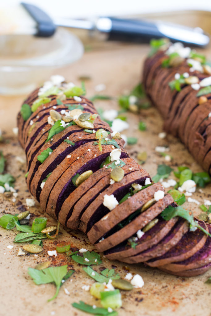 hasselback purple sweet potato