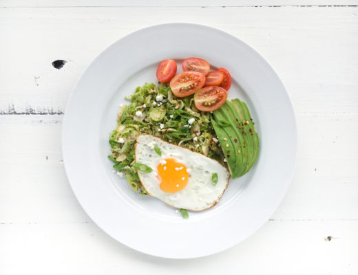Shredded and Fried Buttery Brussels With An Egg and Avocado