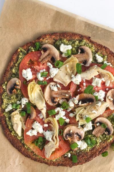 Cauliflower Crust Pizza With Vegan Cashew Pesto (Pre-made crust)
