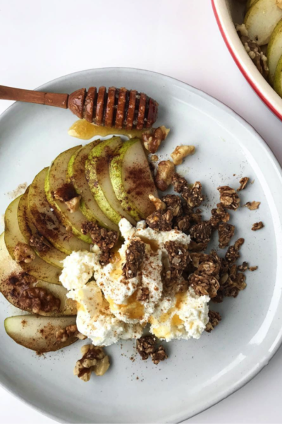 Baked Pear With Coconut Yogurt & Honey