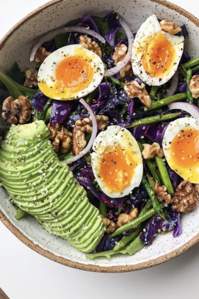 Asparagus and Cabbage Salad with Walnuts and Poached Eggs