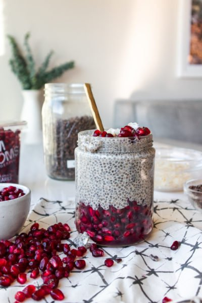 Creamy Coconut + Pomegranate Chia Pudding